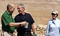 President George W. Bush and Prime Minister Ehud Olmert of Israel share a moment.jpg