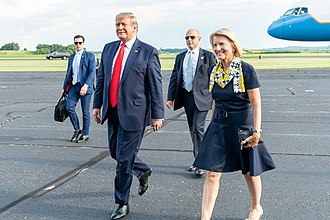 Capito with President Trump in 2019 President Trump Arrives in West Virginia (48372960481).jpg