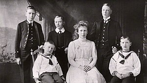 Mary, Princess Royal and Countess of Harewood - Princess Mary, centre, with her five brothers