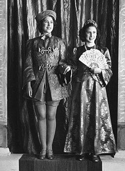 Princesses Elizabeth and Margaret starring in wartime Aladdin, 1943. (7936243828) (cropped)