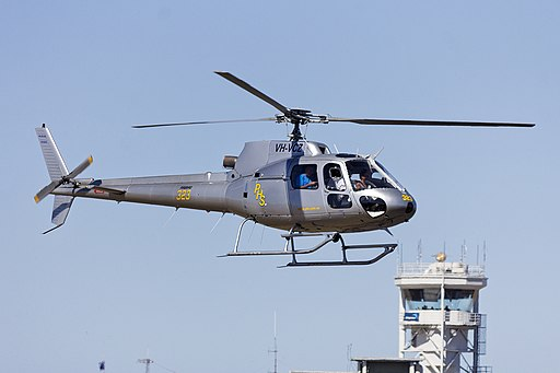 Professional Helicopter Services (VH-VCZ) Eurocopter AS350BA Écureuil landing at Avalon Airport during the 2013 Australian International Airshow