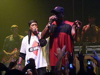 Professor Griff - Behind Chuck D, in Zagreb in 2006.