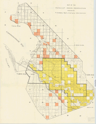 Puyallup people - U.S. Government map of the reservation in 1892. Note that the Puyallup River has been relocated since then.
