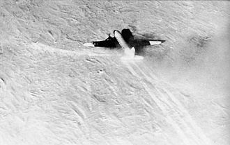 "Operation Deep Freeze - U.S. Navy R4D-5L ""Dakota"" making the first landing at the South Pole, 31 October 1956"