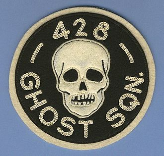 No. 428 Squadron RCAF - RCAF 428 Ghost Squadron flight suit patch, made by Crest Craft pre 1956. This is the first issue of two similar versions.