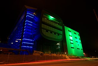 Experimental Media and Performing Arts Center - Image: RPI EMPAC Lights above the hudson 2