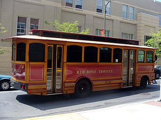 Tourist trolley - Optima tourist trolley operated by RRTA in Lancaster, Pennsylvania.