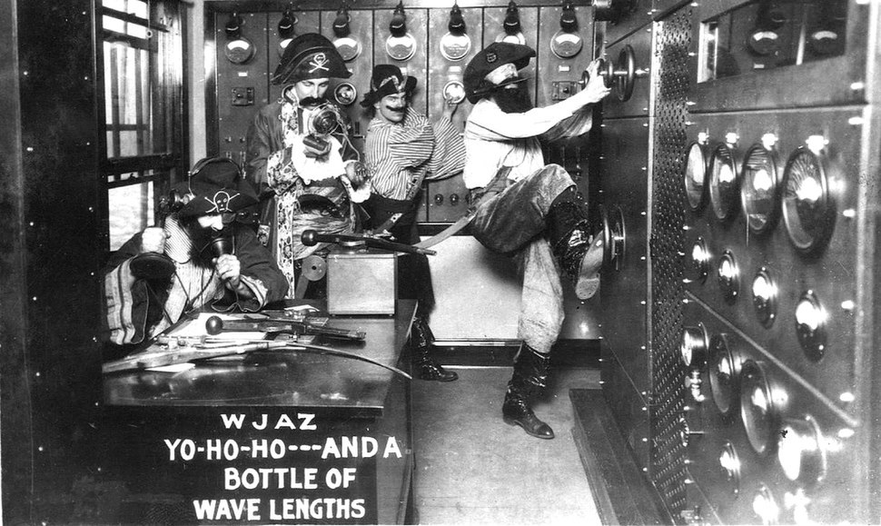 Radio station WJAZ, Chicago, 'wave pirates' publicity photograph (1926)