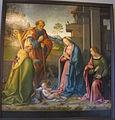 Raffaello botticini, adorazione del bambino coi santi barbara e martino.JPG