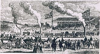 Rainhill Trials - Later conjectural drawing of the Rainhill Trials. In the foreground is Rocket and in the background are Sans Pareil (right) and Novelty.
