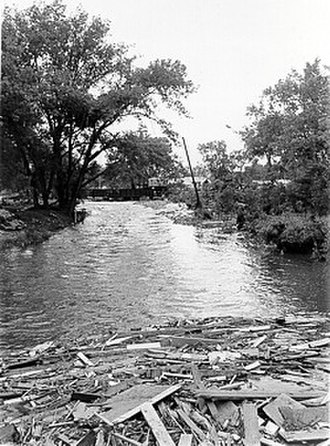 Rapid City, South Dakota - Debris along Rapid Creek after 1972 flood.