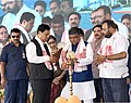 Ravi Shankar Prasad lighting the lamp at the foundation stone laying ceremony for Common Facilitation Centre and Smart Meter Manufacturing Facility in Electronics Manufacturing Cluster (EMC) in Tech City, Bongara village.JPG