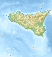 Map of Sicily with mark showing location of Aci Trezza