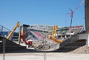 San Mamés Stadium (2013) - old stadium demolished with new stadium rising behind, June 2013