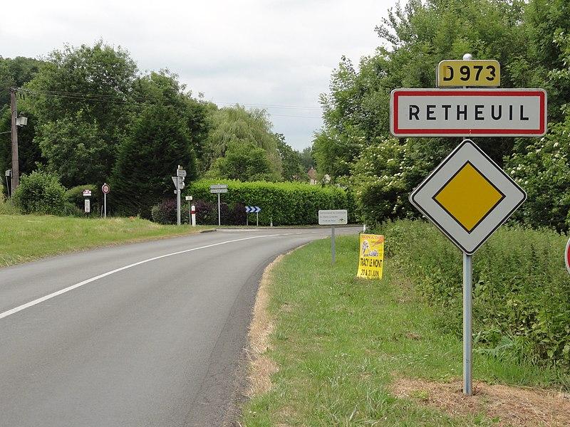 Retheuil (Aisne) city limit sign