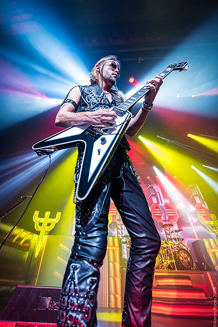 Richie Faulkner of Judas Priest at The Warfield Theater in San Francisco. Photo: Aaron Rubin Richie Faulkner of Judas Priest.jpg