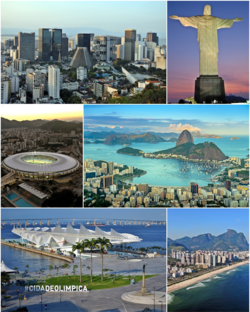 From the top, left to right: Christ the Redeemer, Botafogo's cove, Rio Downtown, Rio–Niterói bridge, Maracanã Stadium, and panoramic view of Barra da Tijuca from Pedra da Gávea