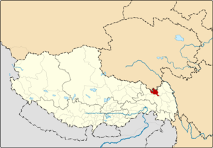 Location of Riwoqê County within Tibet
