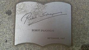 Robert Saladrigas - Plate with Robert Saladrigas signature in Book's Monument (Barcelona)