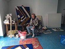 Robert Baća u svom ateljeu u Zagrebu, 2016. godina