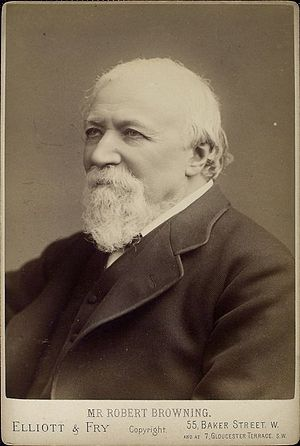English: Robert Browning, British poet, during...