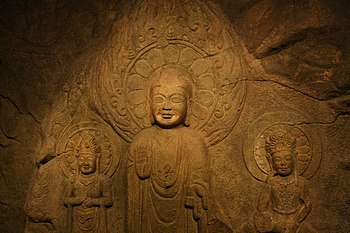 Rock carved Buddha triad in Seosan, South Korea
