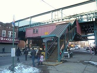 Rockaway Avenue (IRT New Lots Line) - Image: Rockaway Av IRT sta jeh