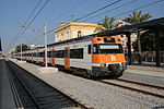 A 447 Series train on a R1 service at Malgrat de Mar railway station in 2013