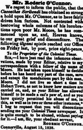 Roderic O'Connor (land commissioner) - One of O'Connor's letters, with satirical preamble by the editors of The Colonial Times
