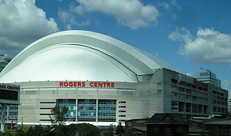 Toronto Raptors - SkyDome, known as Rogers Centre since 2005, was the original venue for Raptors home games from 1995 to 1999.