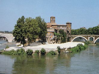 Tiber Island - A view from the south-east on the Tiber Island.