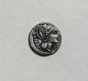 Roma (mythology) - Roma on a denarius, 93-92 BC (Walters Art Museum)