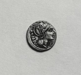 Roma (mythology) - Roma on a denarius, 93-92 BC (Walters Art Museum)