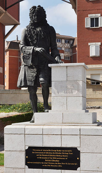 Capture of Gibraltar - Statue of Sir George Rooke, erected in Gibraltar in 2004 to celebrate 300 years of British rule.
