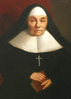 Painted portrait of a nun, sitting, with hands clasped around a book
