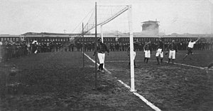 Club Atlético del Rosario - Rosario A.C. celebrating a goal to Uruguayan team CURCC during the 1904 Tie Cup final