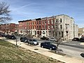 Rowhouses from Patterson Park, E. Baltimore Street and N. Port Street (northwest corner), Baltimore, MD 21224 (46687018315).jpg