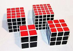 Variasi Kiub Rubik (dari kiri ke kanan: Dendam Rubik, Kiub Rubik, Kiub Profesor, & Kiub Poket)Image by wikipedia.org/