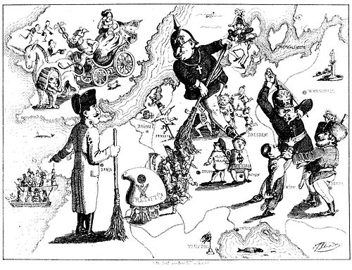 A caricature by Ferdinand Schröder on the defeat of the revolutions of 1848/49 in Europe (published in Düsseldorfer Monatshefte, August 1849) Rundgemälde Europa 1849.jpg