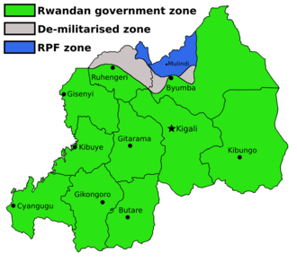 Map showing the partition of Rwanda between government, RPF, and demilitarised zones.