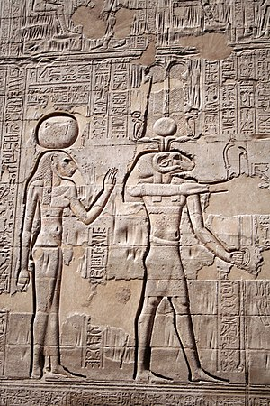 Esna - Reliefs showing Khnum with his consort Menhit from the Temple of Esna