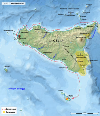 Battle of Lilybaeum - Naval operations around Sicily in 218 BC