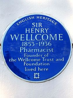 Sir henry wellcome 1853 1936 pharmacist founder of the wellcome trust and foundation lived here (2)