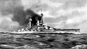 A large battleship sits motionless, black smoke billows from its funnels