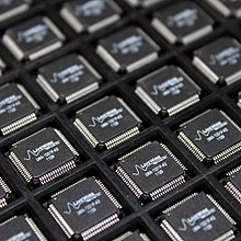 A tray of application-specific integrated circuit (ASIC) chips.