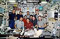 STS-108, Expd. 3 and Expd. 4 dine in Zvezda.jpg