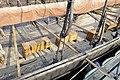 Saga Oseberg Details Gunwale, shroud pin, wood deck, oares in oareholes (årer i hull), rowers' stools (skamler), dory (bom,rå) Viking ship replica 2012 Tønsberg harbour Norway 2019-08-27 05577.jpg