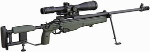 Bipod - A Sako TRG sniper rifle on its standard factory bipod and its monopod under the stock