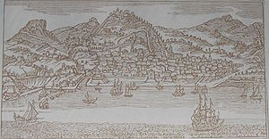 Salerno - Salerno in a print from the 17th century.