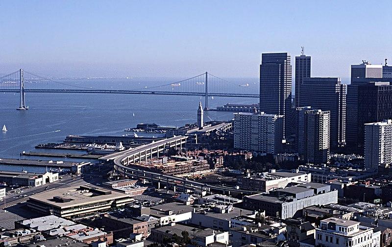 File:San Francisco Skyline with Embarcadero Feb 1982.jpg